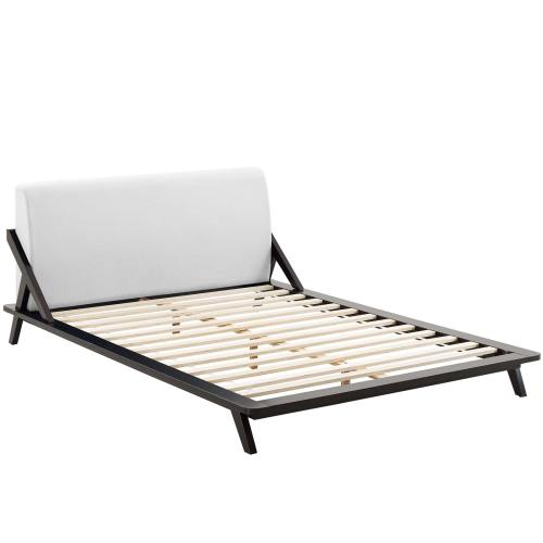 Luella Queen Upholstered Fabric Platform Bed in Cappuccino White