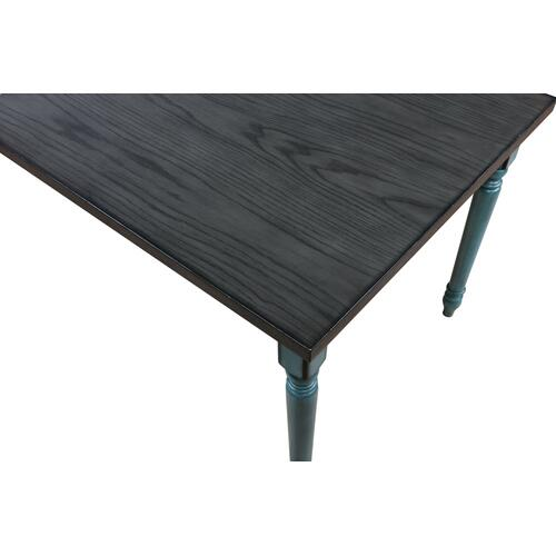 Rectangular Dining Table, Burnished Smoke and Teal Blue