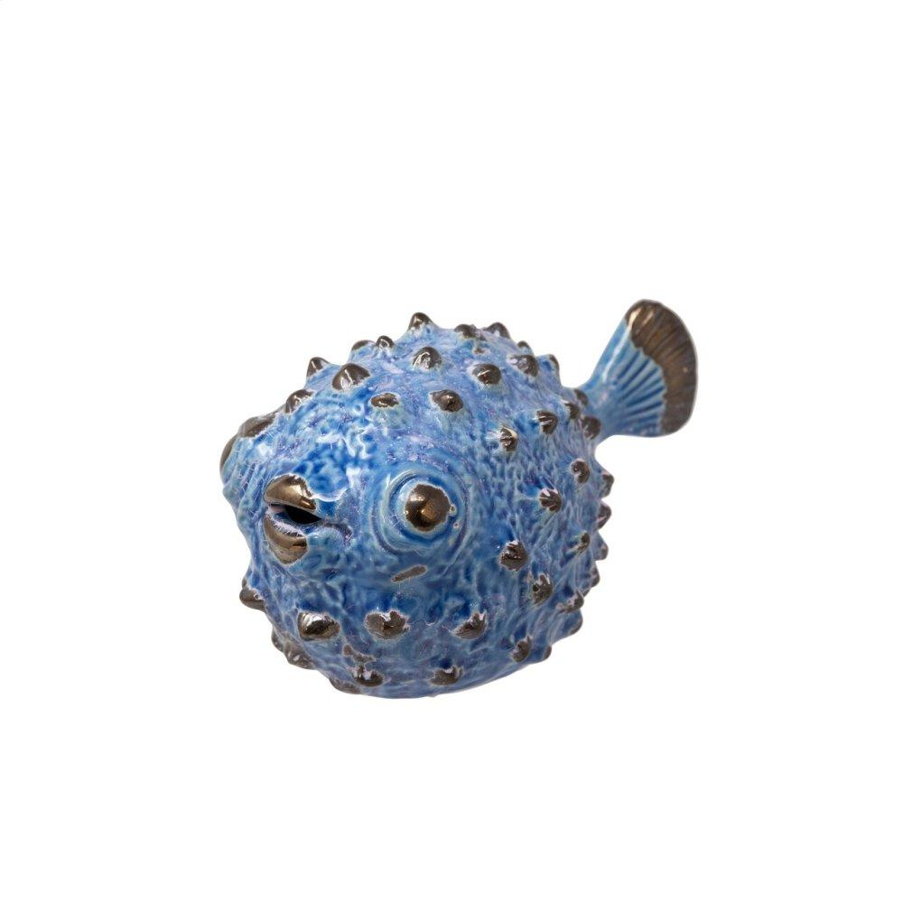 "Ceramic Blowfish Figurine 10"", Blue"