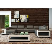 Divani Casa 5080 Grey and White Bonded Leather Sectional Sofa w/ Coffee Table
