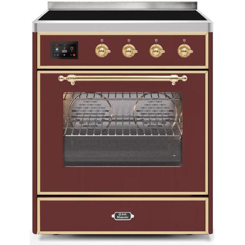 Product Image - Majestic II 30 Inch Electric Freestanding Range in Burgundy with Brass Trim