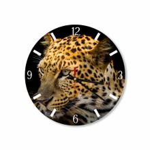 Leopard In Black Background Round Acrylic Wall Clock