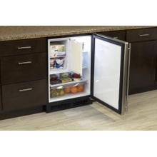 """See Details - 24"""" Refrigerator and Freezer with MaxStore Utility Bin (Marvel) - Solid Stainless Steel Door, Left Hinge"""