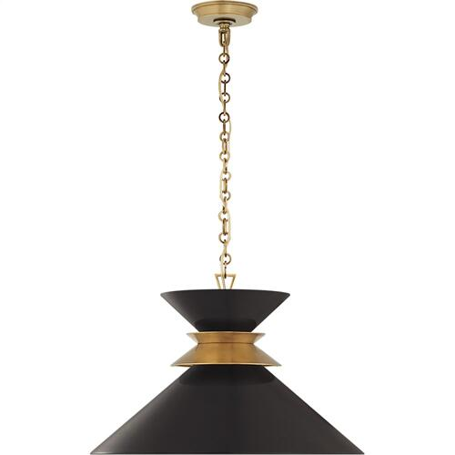 Visual Comfort CHC5245AB-BLK E. F. Chapman Alborg 1 Light 24 inch Antique-Burnished Brass Pendant Ceiling Light in Matte Black, Large Stacked