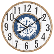 Distressed White & Blue Compass Wall Clock