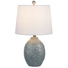 Embossed Floral Grey Table Lamp. 60W Max.