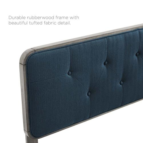 Collins Tufted Queen Fabric and Wood Headboard in Gray Azure