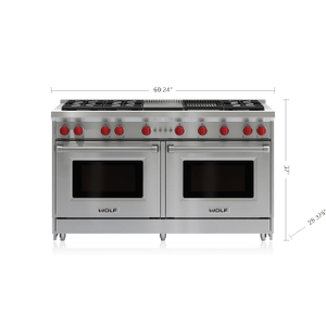 "Wolf60"" Gas Range - 6 Burners, Infrared Charbroiler and Infrared Griddle"