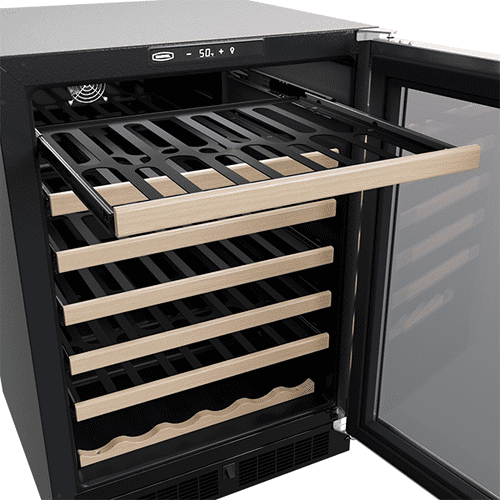 24-In Built-In Single Zone Wine Refrigerator With Wine Cradle with Door Style - Stainless Steel Frame Glass