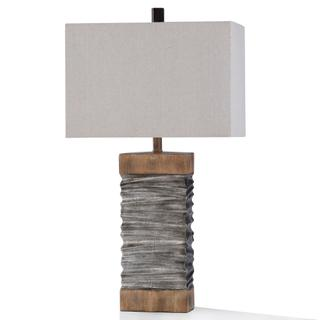DARLEY TABLE LAMP  32in ht.  Slate Layered Silver and Natural Wood Painted Body Table Lamp  100 W