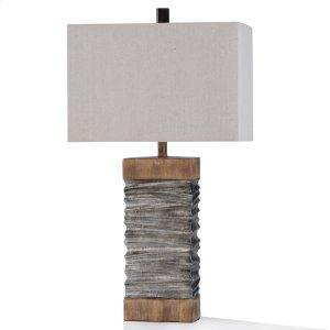Darley Slate Layered Silver & Natural Wood Table Lamp