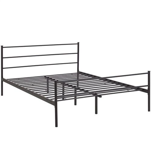 Alina Queen Platform Bed Frame in Brown
