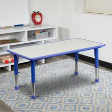 See Details - 23.625''W x 47.25''L Rectangular Blue Plastic Height Adjustable Activity Table with Grey Top