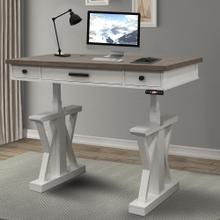 AMERICANA MODERN - COTTON 56 in. Power Lift Desk (from 23 in. to 48.5 in.) (AME#256T and LIFT#200WHT)