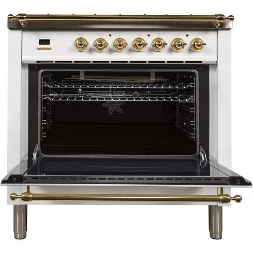 36 Inch White Natural Gas Freestanding Range