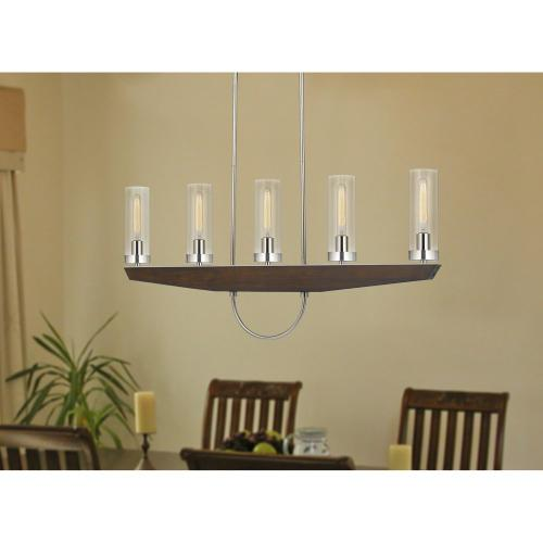 60W x 5 Ercolano pine wood/metal island chandelier with clear glass shade (Edison bulbs NOT included)