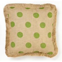 Green Dot Burlap Pillow