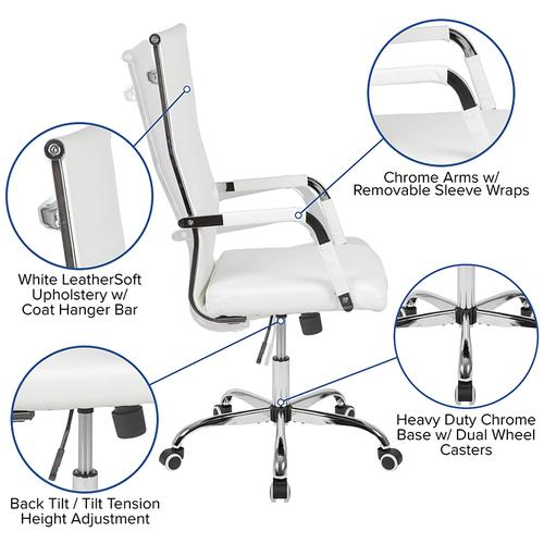 High Back White LeatherSoft Mid-Century Modern Ribbed Swivel Office Chair with Spring-Tilt Control and Arm Wraps