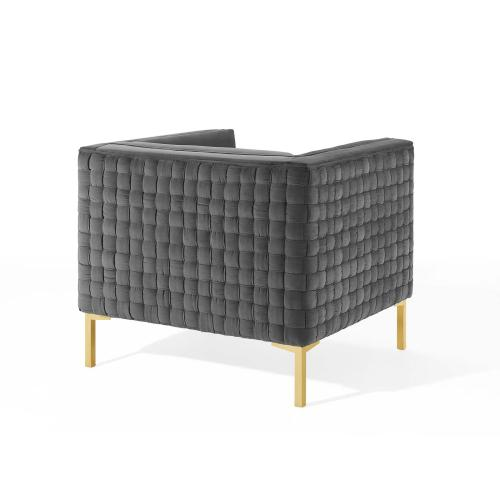Resonate Performance Velvet Armchair in Charcoal