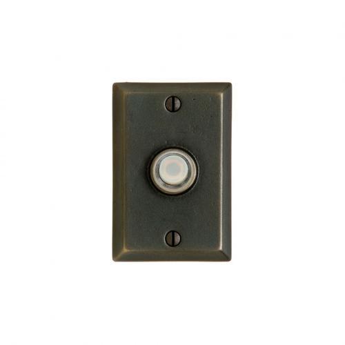 Rectangular Doorbell Button White Bronze Dark