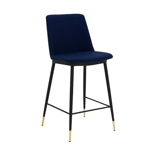 """Messina 26"""" Modern Counter Height Bar Stool with Black Metal Finish and Blue Faux Leather"""