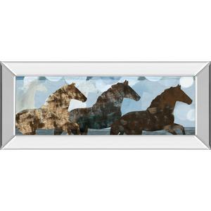 """""""Lively Spirit II"""" Horses By Dan Meneely Mirror Framed Print Wall Art"""