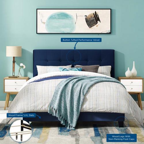 Modway - Amira Queen Performance Velvet Bed in Midnight Blue