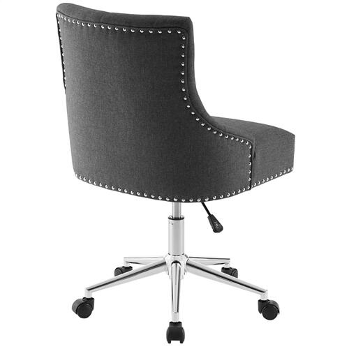 Regent Tufted Button Swivel Upholstered Fabric Office Chair in Gray