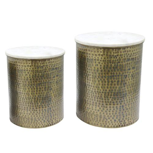 Kent Marble Side/ End Table Set of 2, Antique Brass