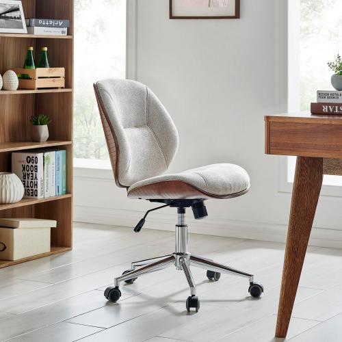 Shaun KD Fabric Bamboo Office Chair, Havana Linen/Walnut