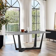 See Details - Radford Light Gray Rectangular Dining Table with Black Finish