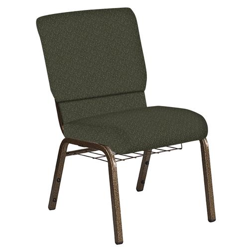 Flash Furniture - 18.5''W Church Chair in Mirage Fern Fabric with Book Rack - Gold Vein Frame