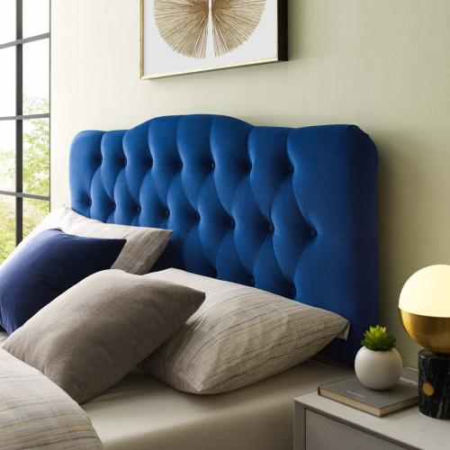 Annabel Queen Diamond Tufted Performance Velvet Headboard in Navy