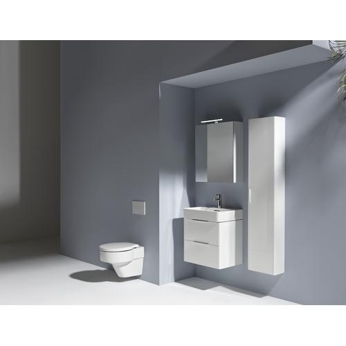 Traffic Grey Tall cabinet, with small projection, 1 door, door hinge left, 1 fixed shelf, 4 glass shelves, design matching vanity units