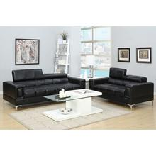 Gerardo 2pc Loveseat & Sofa Set, Black Bonded Leather