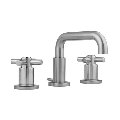 Jaclo - Antique Brass - Downtown Contempo Faucet with Round Escutcheons & Contempo Cross Handles- 0.5 GPM