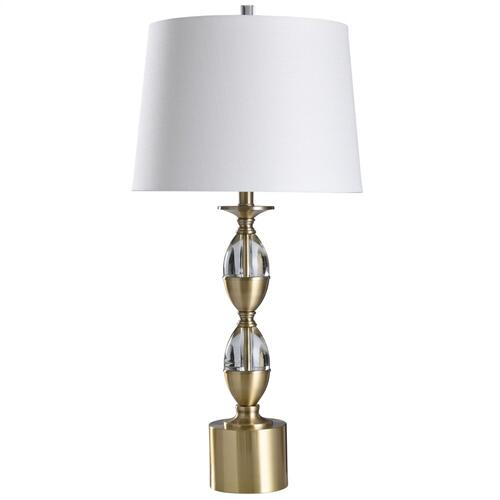 Matlock  32in Crystal Glass & Brass Metal Table Lamp  150 Watts  3-Way