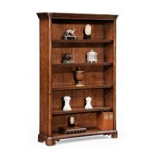 Walnut tall open adjustable bookcase four shelves (Large)