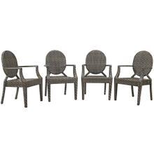 Casper Outdoor Patio Dining Armchair Set of 4 in Brown