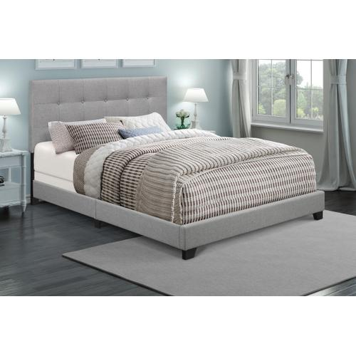 Button Tufted Full Upholstered Bed in Glacier Gray