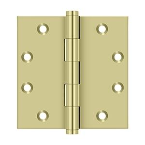 """Deltana - 4-1/2"""" x 4-1/2"""" Square Hinges - Unlacquered Brass"""