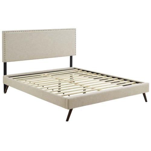 Macie King Fabric Platform Bed with Round Splayed Legs in Beige