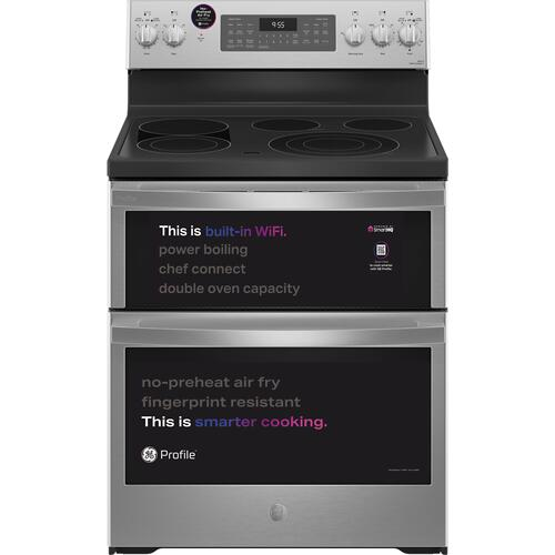 """GE Appliances - GE Profile™ 30"""" Smart Free-Standing Electric Double Oven Convection Range with No Preheat Air Fry"""