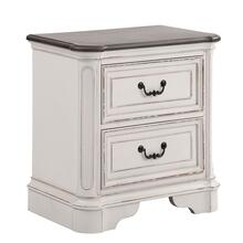 See Details - Laval Antique White and Oak Wood 2-Drawer Nightstand