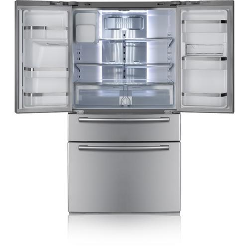Refurbished 28 cu. ft. French Door Refrigerator (This is a Stock Photo, actual unit (s) appearance may contain cosmetic blemishes. Please call store if you would like actual pictures). This unit carries our 6 month warranty, MANUFACTURER WARRANTY and REBATE NOT VALID with this item. ISI 43222