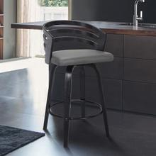 "Jayden Contemporary 30"" Bar Height Swivel Barstool in Black Brush Wood Finish and Grey Faux Leather"