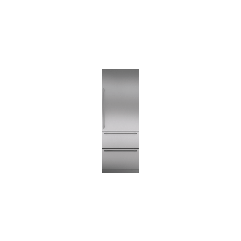 """Integrated Stainless Steel 30"""" Tall Door Panel with Tubular Handle - Right Hinge"""