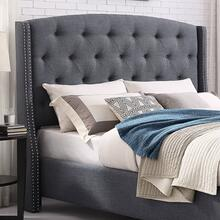 Nantarre Fabric Button Tufted Wingback Upholstered QUEEN & KING Bed with Nail Head Trim, Gray, Queen