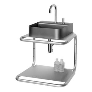 Aeri small, dual shelf wall mount aluminum structure with integral towel bar. Product Image