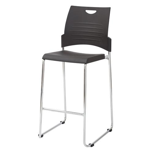 Office Star - Tall Black Stacking and Ganging Chair With Plastic Seat and Back With Chrome Frame